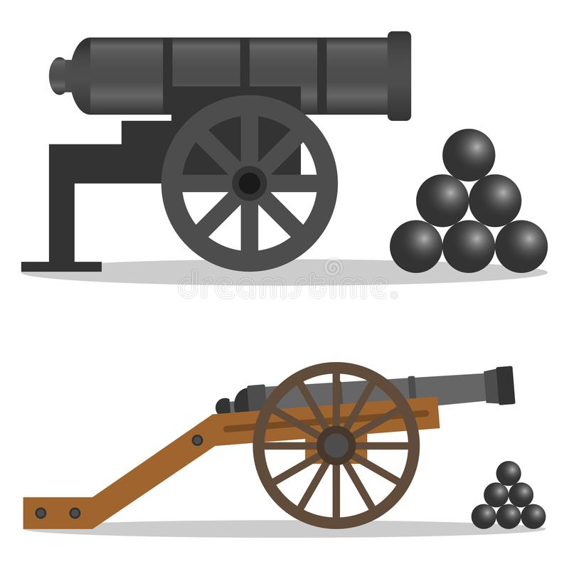 Działo, retro działo, militarny działo ilustracji