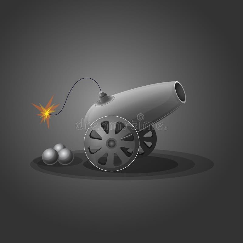 Działo wokoło podpalać broń ilustracja wektor
