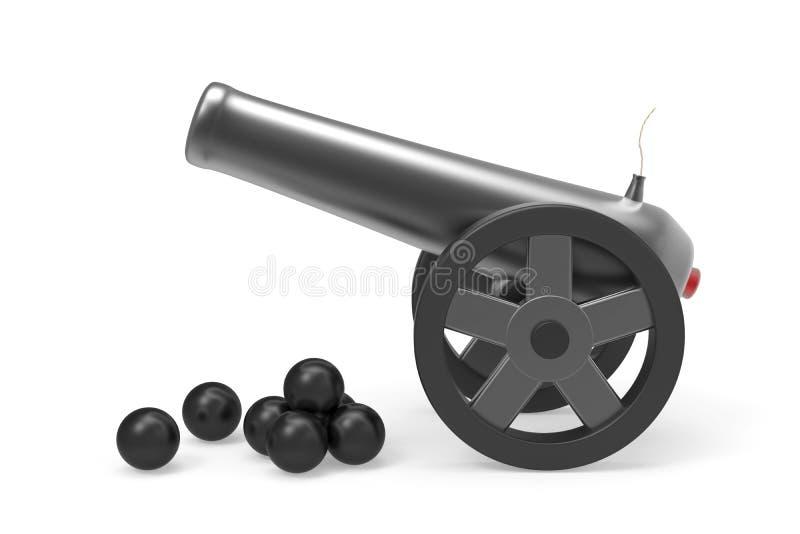 Działo z czarnymi bombami ilustracji