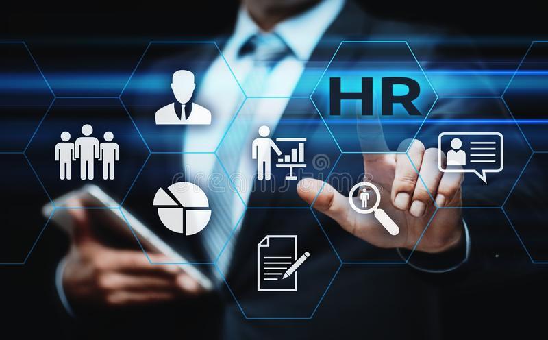 Działu Zasobów Ludzkich HR zarządzania Headhunting Rekrutacyjny Zatrudnieniowy pojęcie obraz stock