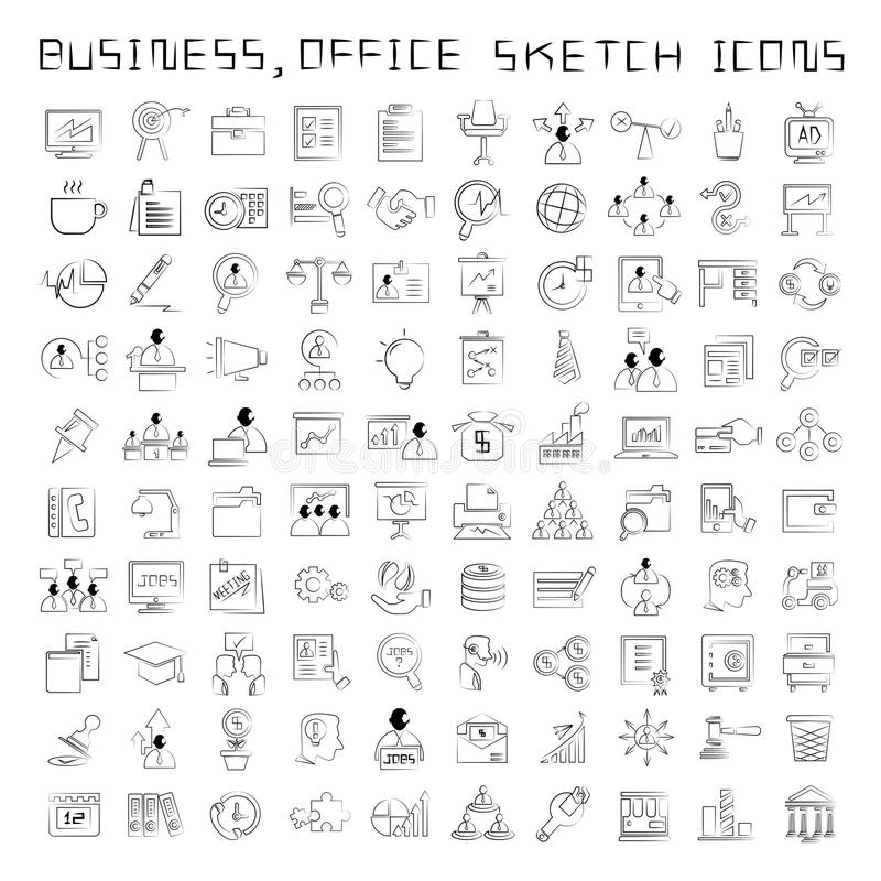 Działu zasobów ludzkich i biznesu ikony royalty ilustracja
