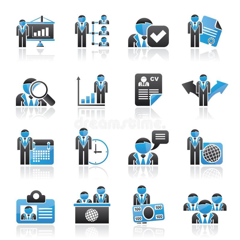 Działu zasobów ludzkich i zatrudnienia ikony royalty ilustracja