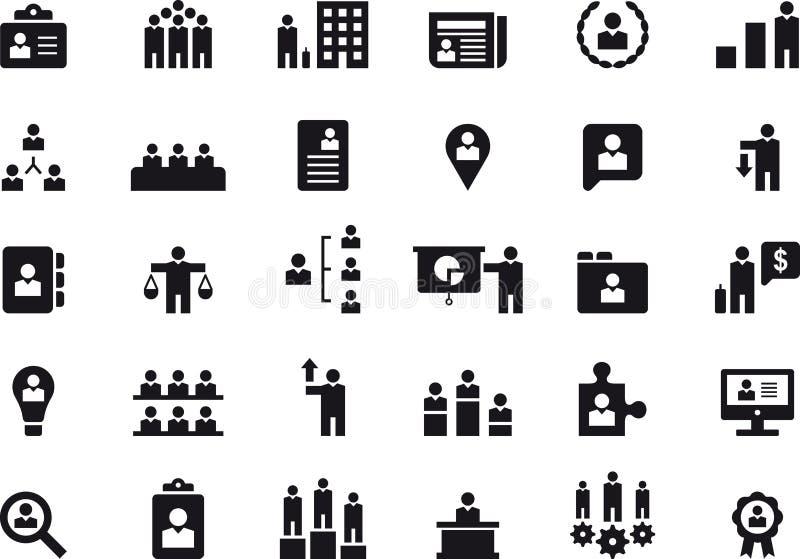 Działu zasobów ludzkich zarządzania ikony set ilustracja wektor