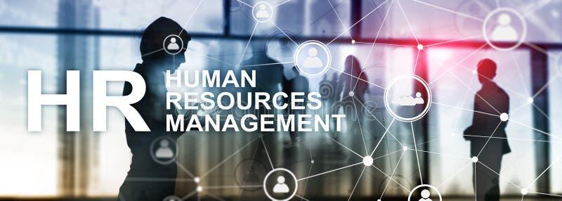 Działu zasobów ludzkich zarządzanie, HR, Drużynowy budynek i rekrutaci pojęcie na zamazanym tle, ilustracja wektor