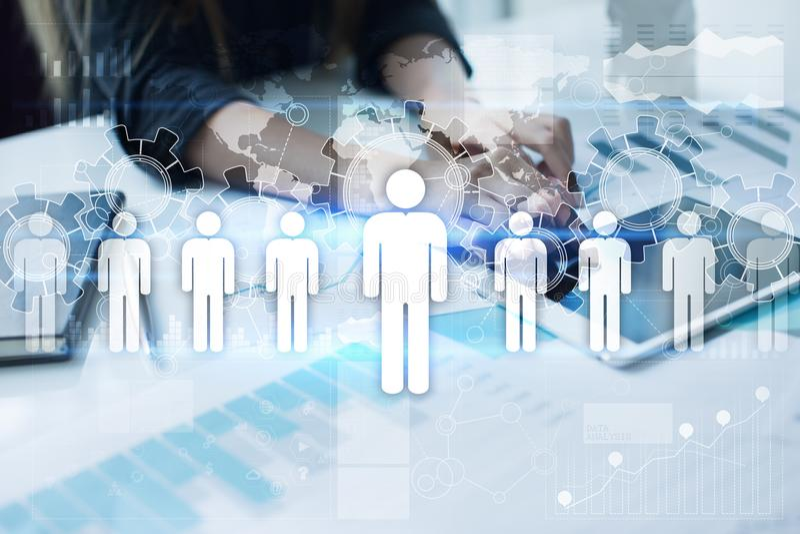 Działu zasobów ludzkich zarządzanie, HR, rekrutacja, przywódctwo i teambuilding, Biznesu i technologii pojęcie ilustracja wektor