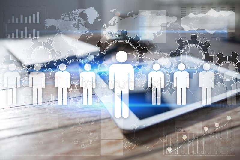 Działu zasobów ludzkich zarządzanie, HR, rekrutacja, przywódctwo i teambuilding, Biznesu i technologii pojęcie ilustracji