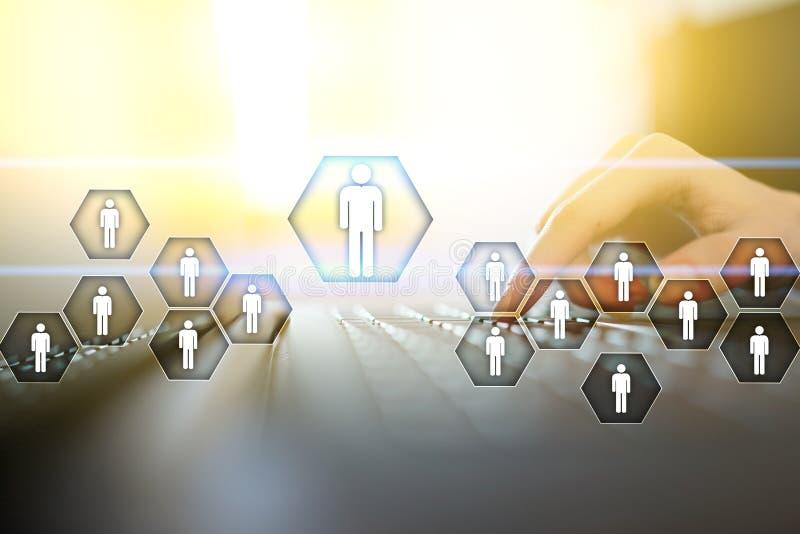 Działu zasobów ludzkich zarządzanie, HR, rekrutacja, przywódctwo i teambuilding, Biznesu i technologii pojęcie royalty ilustracja