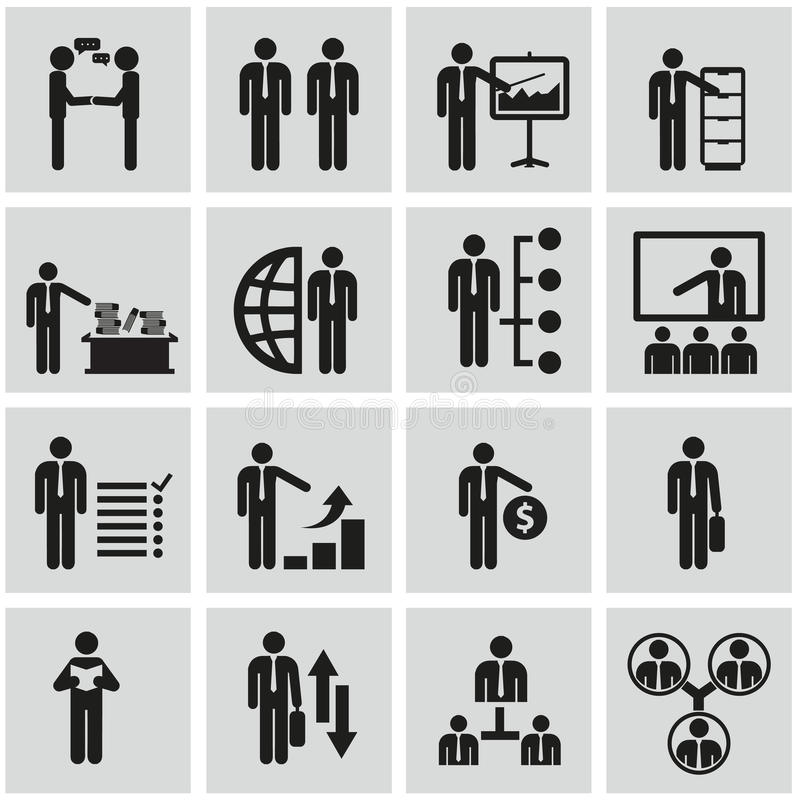 Działy zasobów ludzkich i zarządzanie ikony ustawiać. ilustracji