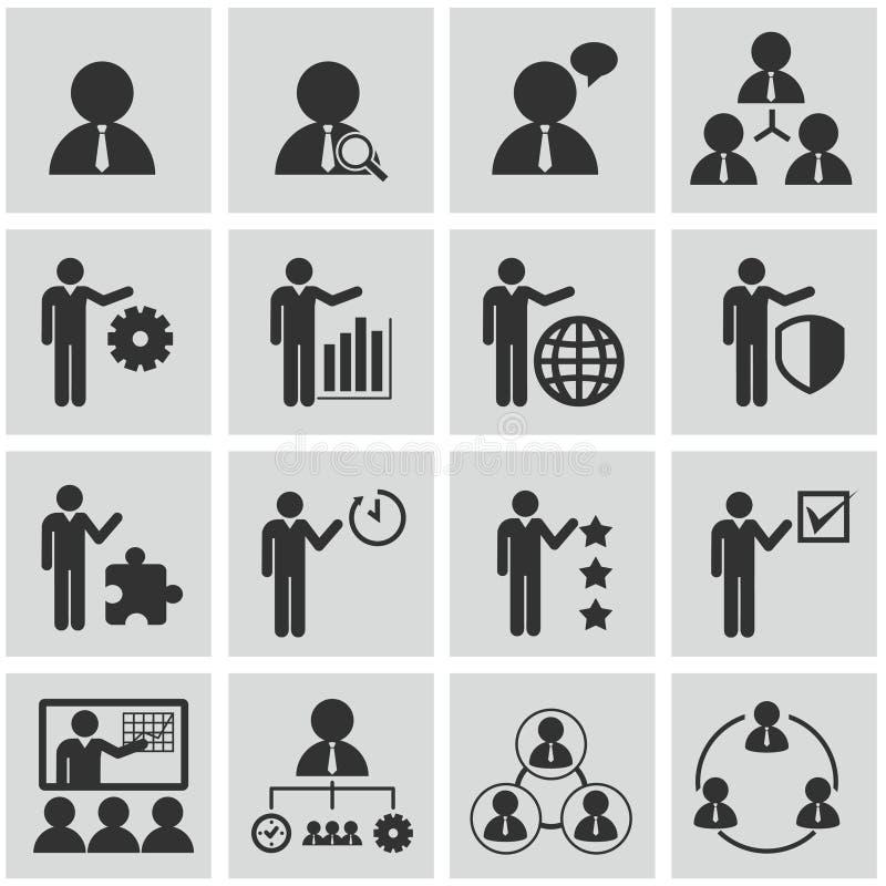 Działy zasobów ludzkich i zarządzanie ikony ustawiać. obraz royalty free