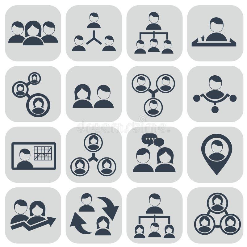 Działy zasobów ludzkich i zarządzanie ikony ustawiać ilustracja wektor