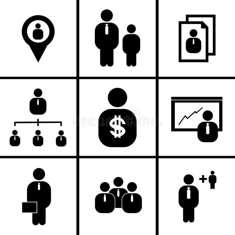 Działy zasobów ludzkich i zarządzanie (ikony ustawiać) ilustracji