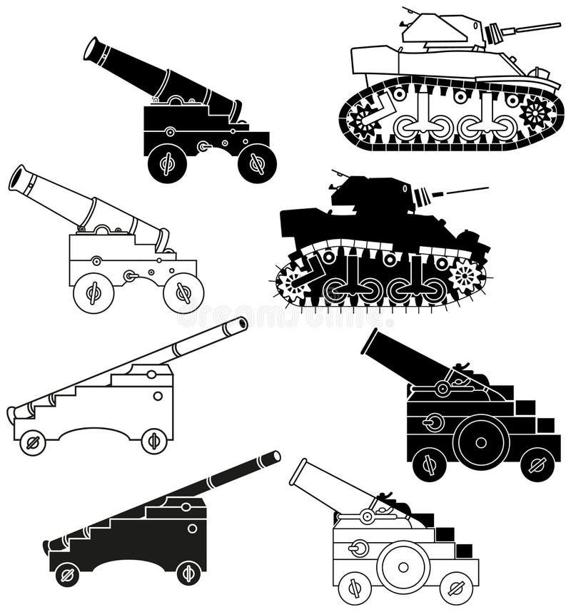 Download Działa i zbiorniki ilustracja wektor. Obraz złożonej z wyznaczaj - 25944187