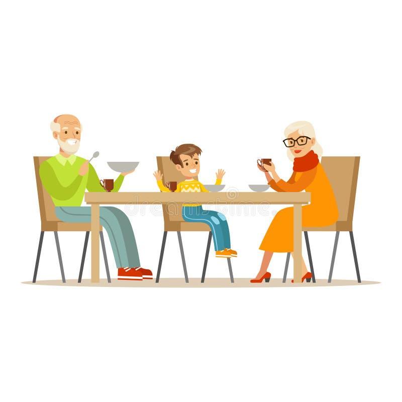 Dziad, babcia I chłopiec Ma gościa restauracji, część dziadkowie Ma zabawę Z wnuk seriami ilustracja wektor