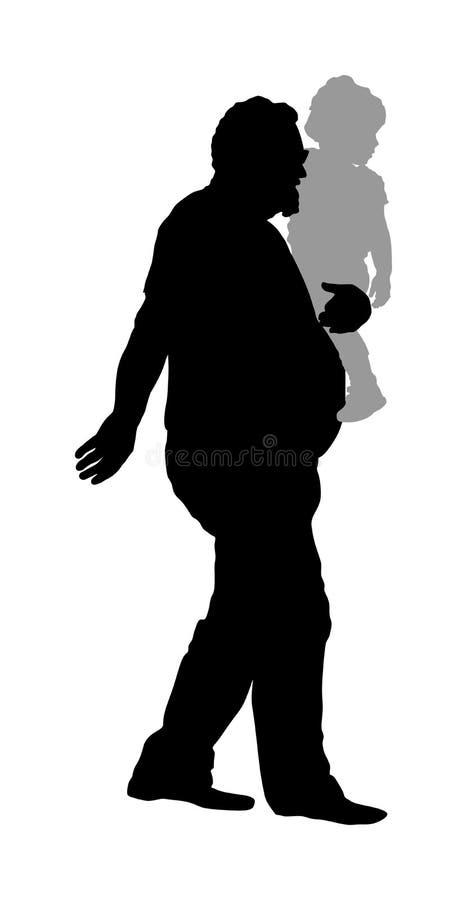 Dziad i wnuk rozgrymaszamy Dziadek przewożenie wnuka sylwetki wektorowa ilustracja ilustracja wektor