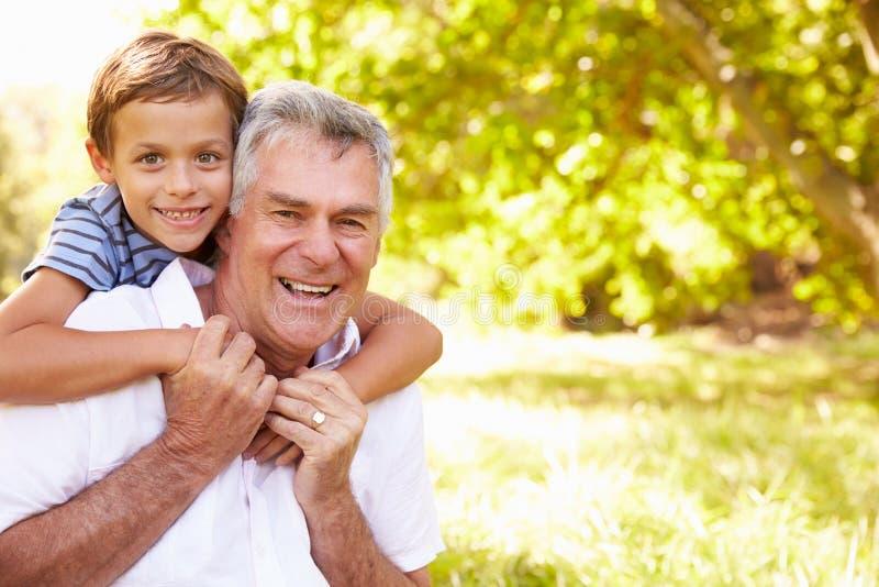 Dziad ma zabawę z jego wnukiem outdoors, portret obrazy stock