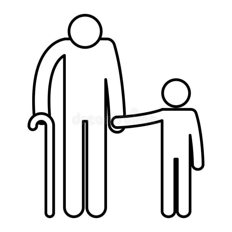 Dziad z wnuk sylwetek avatars ilustracji