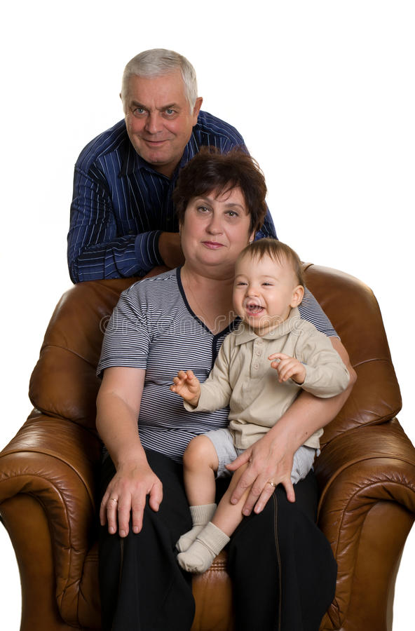 dziadek babci wnuka obsiadanie zdjęcie stock