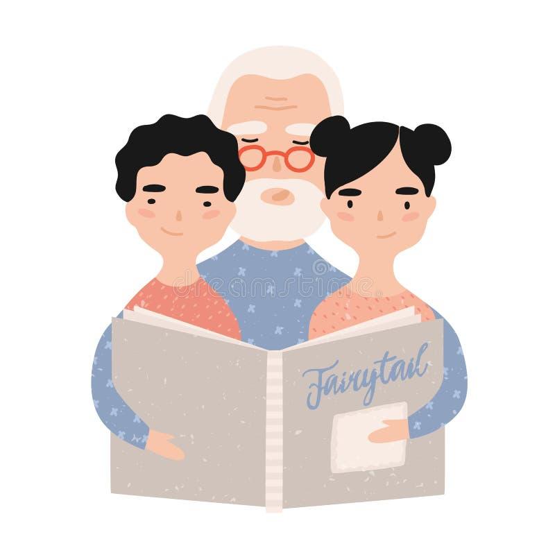 Dziadek czytelnicza ksi??ka z wnukami Dziad m?wi bajki jego wnuczka i wnuk Portret royalty ilustracja