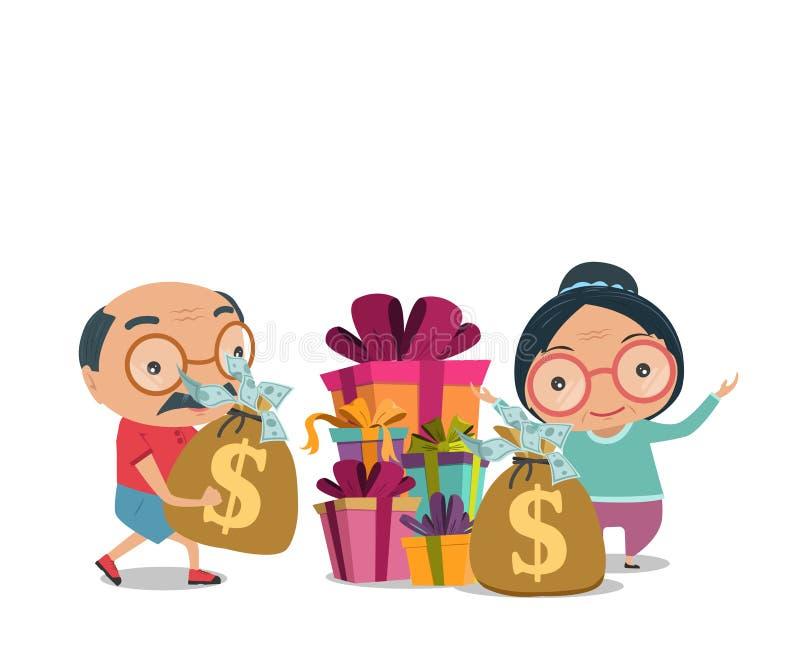 Dziadek, Stary starszy mężczyzna i kobiety szczęśliwa emerytura, dostajemy bogactwo ilustracja wektor