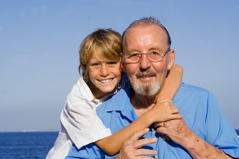 dziadek wnuka, zdjęcie royalty free