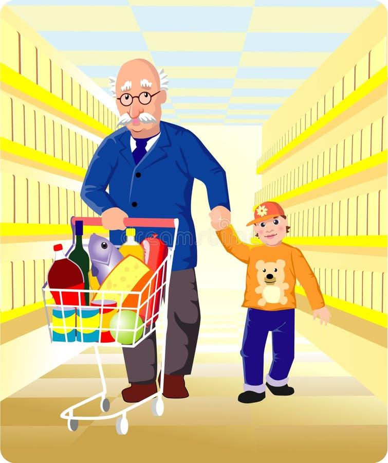 dziadek zakupy royalty ilustracja