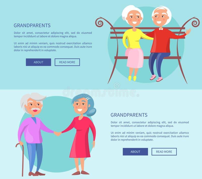 Dziadków plakaty z Dojrzałymi parami Wpólnie ilustracja wektor