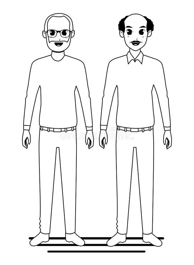 Dziadków przyjaciele dobierają się uśmiechniętą kreskówkę w czarny i biały royalty ilustracja