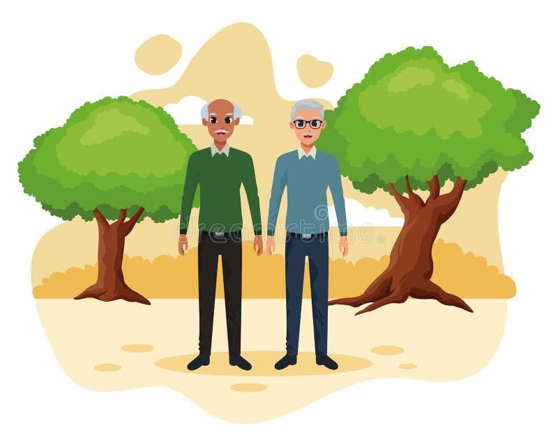 Dziadków przyjaciele dobierają się uśmiechniętą kreskówkę ilustracji