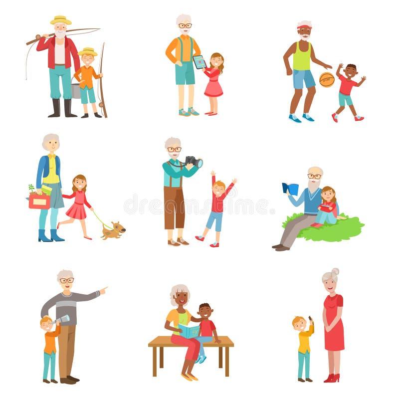 Dziadkowie I dzieciaki Wydaje czas Wpólnie Ustawiającego ilustracje ilustracji