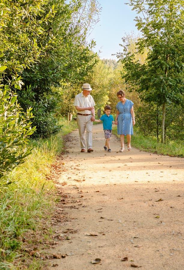Dziadkowie i wnuk chodzi outdoors obrazy royalty free