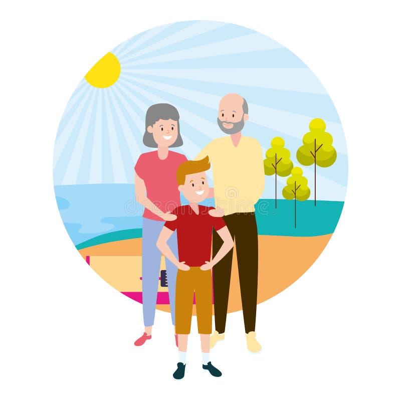 Dziadkowie i wnuk royalty ilustracja