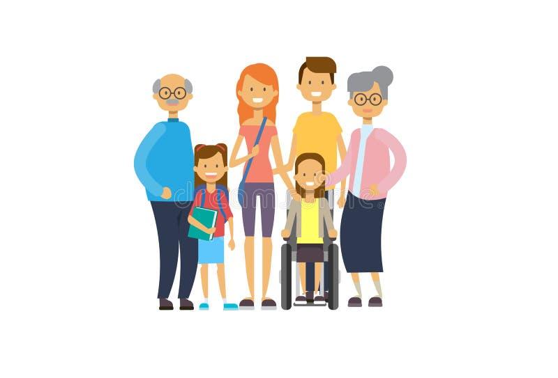 Dziadkowie wychowywają dziecko dziewczyny wózek inwalidzkiego, wielo- pokolenie rodzina, pełny długości avatar na białym tle, szc royalty ilustracja