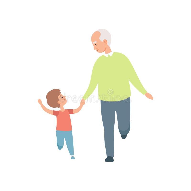 Dziadunia odprowadzenie z jego małym wnukiem, dziad wydaje czas bawić się z wnuk wektorową ilustracją na bielu ilustracja wektor