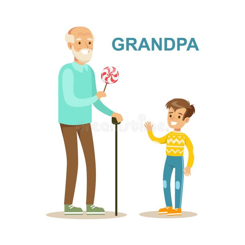 Dziadunio Daje cukierkowi wnuk, Szczęśliwa rodzina Ma Dobrą czas ilustrację Wpólnie royalty ilustracja