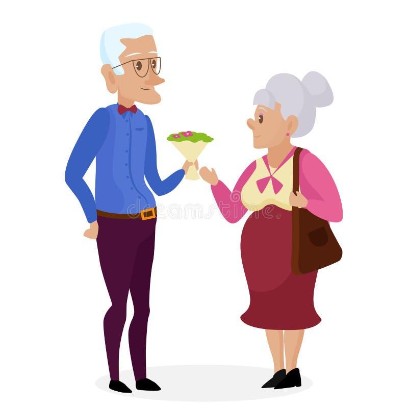 Dziadunio daje kwiaty babcia Szczęśliwi dziadkowie wpólnie odizolowywający Dziadka dzień Dziadunio i babcia elderly ilustracji