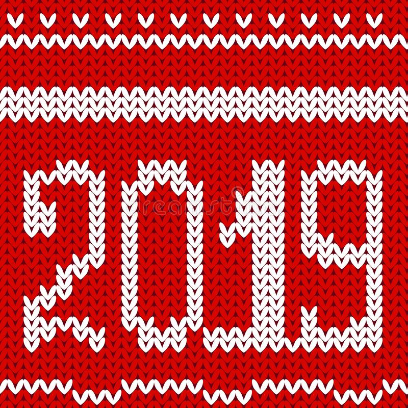 Dzianina projekt 2019 Bożenarodzeniowy dziewiarski bezszwowy wzór Wektoru nowego roku i Xmas czerwieni tło Trykotowa zimy tekstur ilustracja wektor
