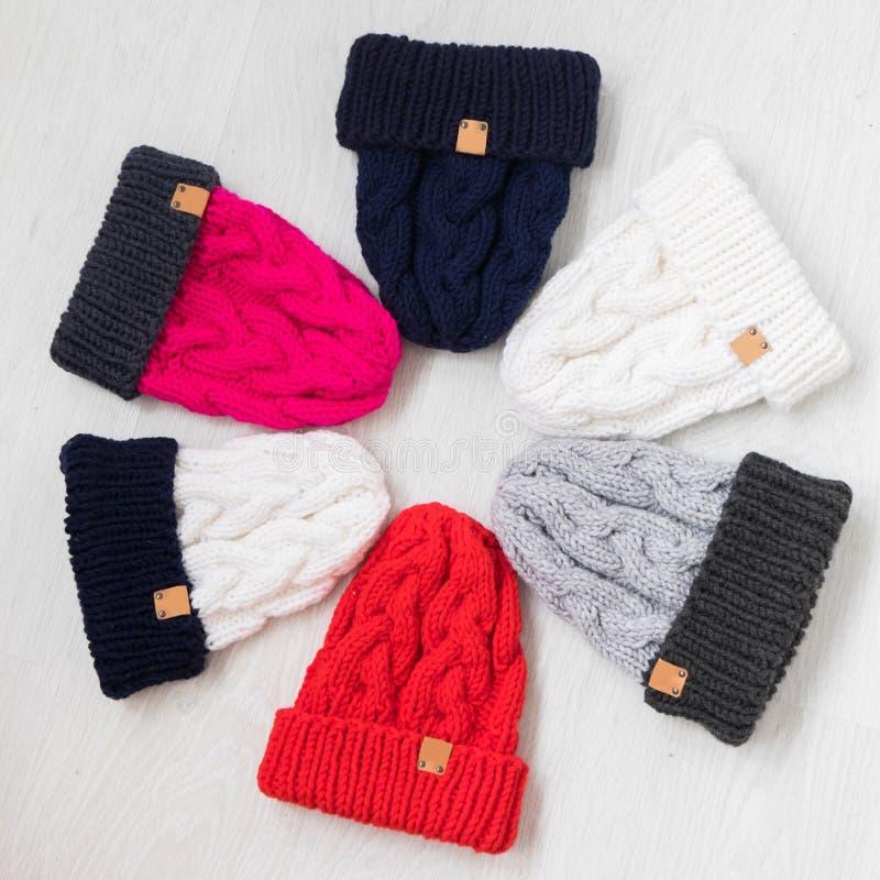 Dzianiny zimy kapelusze obraz stock