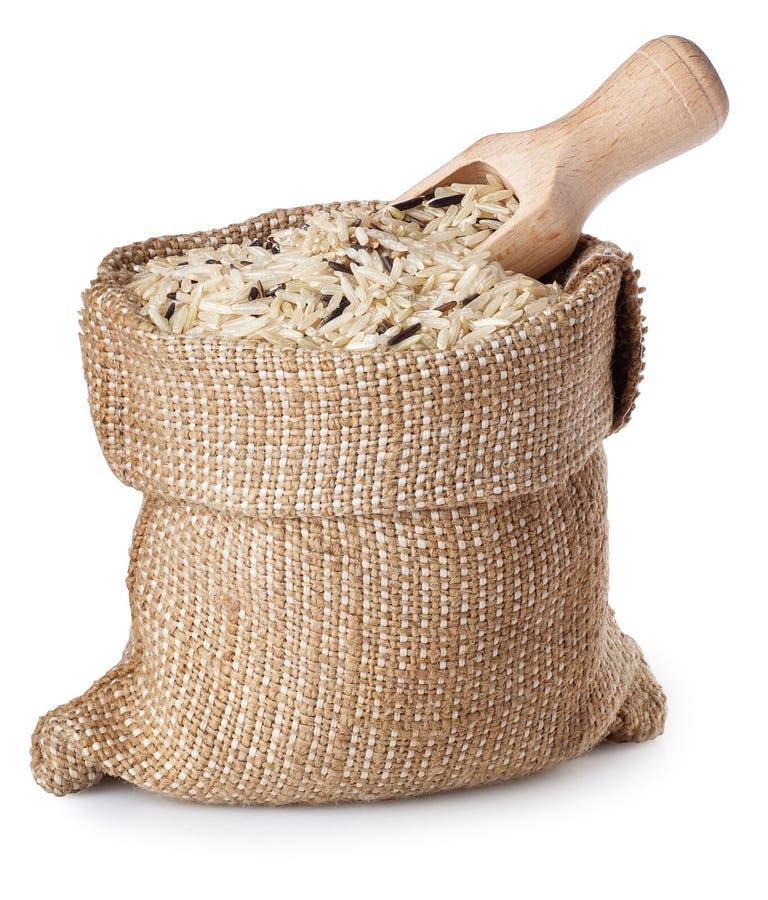 Dzicy brown ryż w torbie z miarką odizolowywającą na białym tle zdjęcie stock