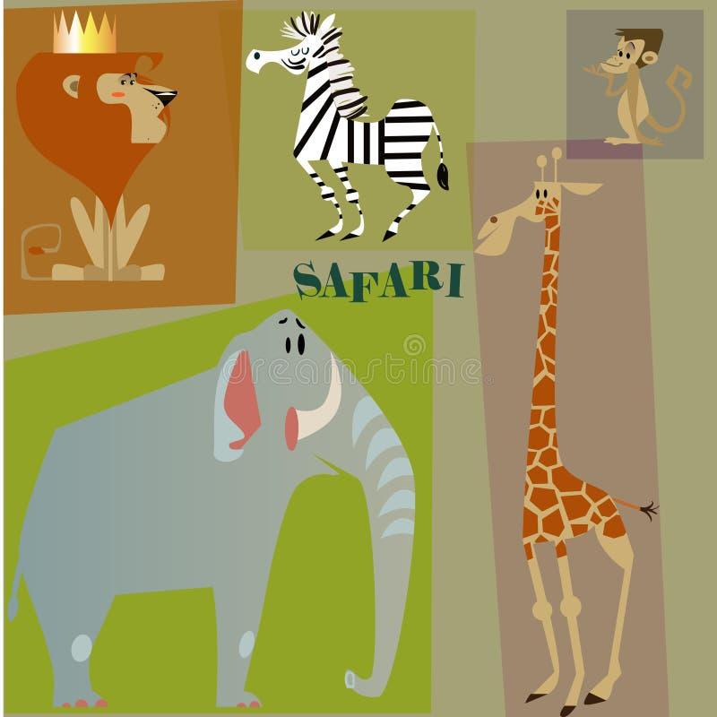 Dzicy kreskówek zwierzęta ilustracja wektor