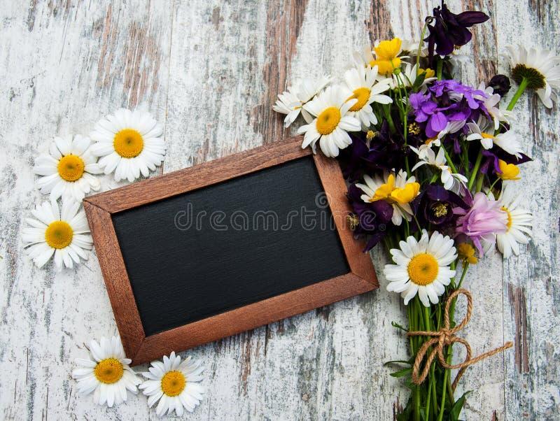 Dzicy kwiaty z blackboard obrazy stock