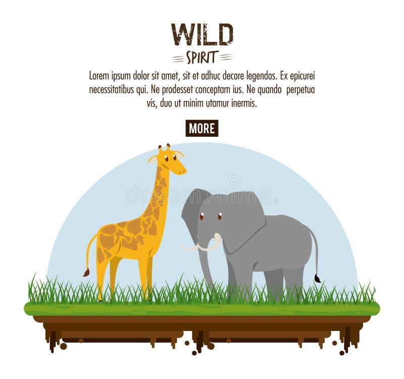 Dzicy spirytusowi zwierzęta royalty ilustracja