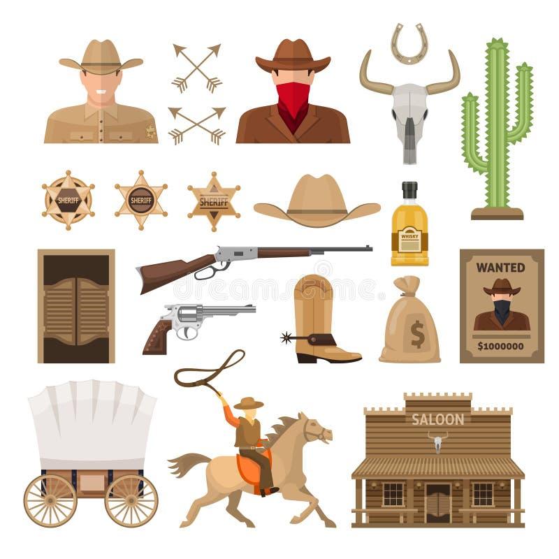 Dzicy Zachodni Dekoracyjni elementy Ustawiający ilustracji