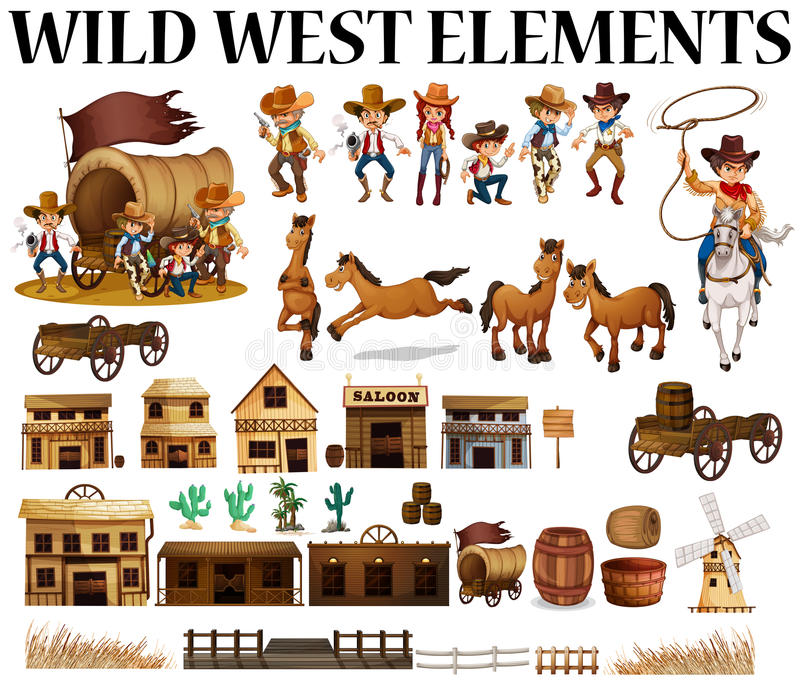 Dzicy zachodni kowboje i budynki royalty ilustracja