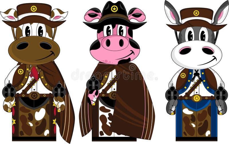 Dzicy Zachodni krowa kowboje ilustracji