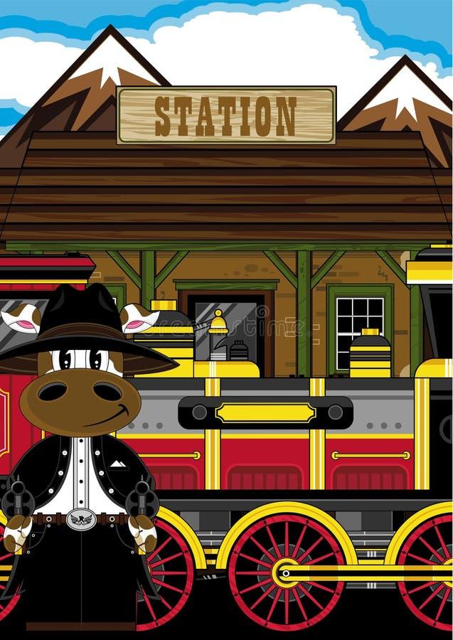 Dzicy Zachodni krowa kowboje, pociąg & ilustracja wektor