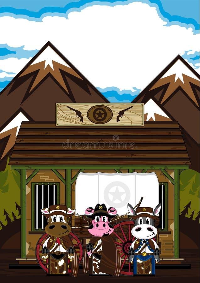 Dzicy Zachodni Zwierzęcy kowboje przy więzieniem ilustracji