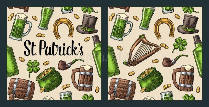 dzień świętego Patricka kapelusz, garnek monety, drymba, piwo, lira, podkowa royalty ilustracja