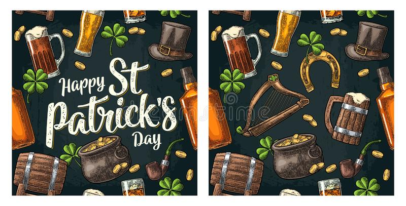 dzień świętego Patricka kapelusz, garnek monety, drymba, piwo, lira, podkowa ilustracja wektor