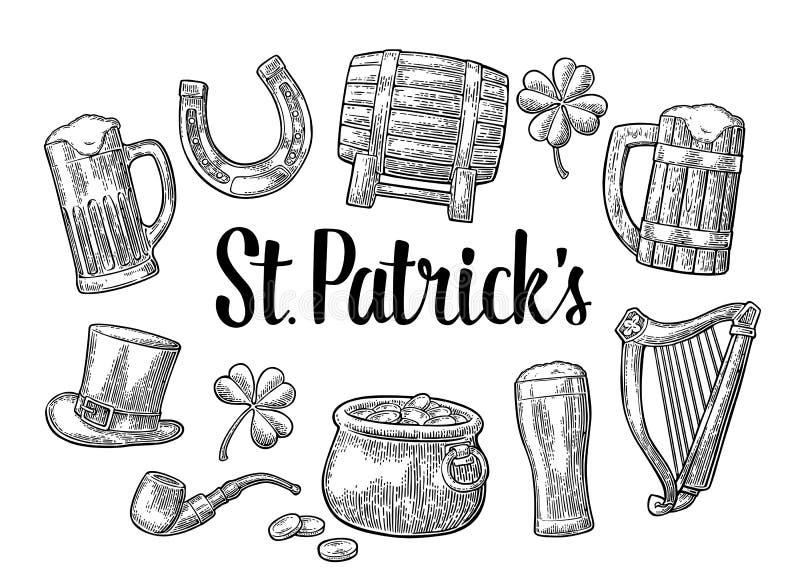 dzień świętego Patricka kapelusz, garnek monety, drymba, piwo, lira, podkowa ilustracji