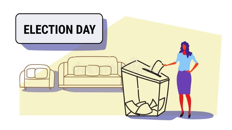 Dzień wyborów pojęcia bizneswomanu wyborca stawia papierowego tajnego głosowania listę w pudełku podczas głosować eleganckiej kob ilustracja wektor